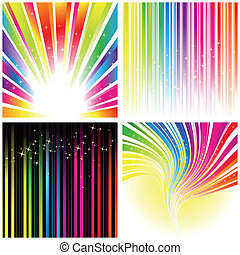 Abstraktes Set von Regenbogenfarbenem Hintergrund