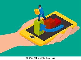 Abstraktion des Geldabhebens mit einem Smartphone.