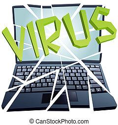 absturz, bricht, stücke, virus, computersicherheit, laptop