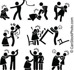 Abusiver Ehemann-Freund-Pictogramm