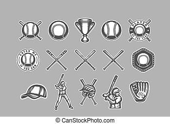 abzeichen, art., logos, sport, baseball, monochrom, markierungen, illustration., labels., aufkleber, embleme, grafik, weinlese
