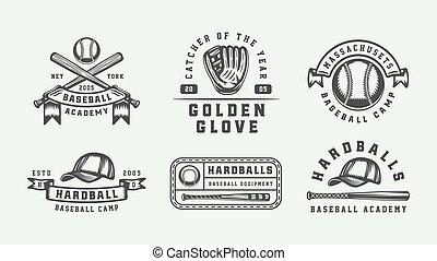 abzeichen, art., logos, sport, baseball, monochrom, markierungen, illustration., labels., embleme, grafik, weinlese