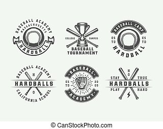 abzeichen, art., logos, sport, baseball, monochrom, markierungen, illustration., labels., embleme, grafik, weinlese, vektor