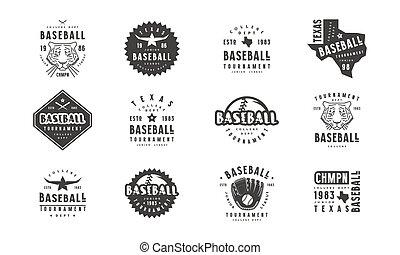 abzeichen, baseball, satz, mannschaft