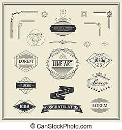abzeichen, dünne linie, deco, elemente, weinlese, ecke, kunst, rahmen, geometrische form, retro, design, linear, satz