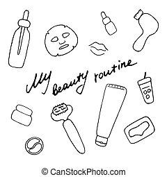accessories., routine., hand, grafik, kosmetisch, vektor, schoenheit, heiligenbilder, gezeichnet, digital, produkte, print., mein
