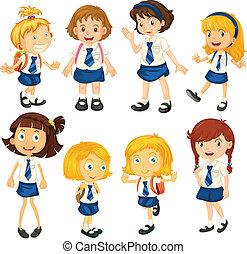 Acht Schulmädchen in ihren Uniformen.