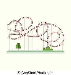 achterbahn, anziehungskräfte, oder, belustigung, isolated., wohnung, vektor, abbildung, parkanlagen & naturparks