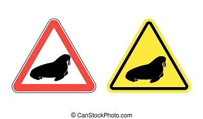 Achtung, Walross. Hazard, gelb, unterschreib das Siegel. Silhouette von arktischem Tier mit Reißzähnen auf rotem Dreieck. Straßenschilder.