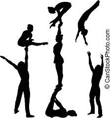 Acrobatischer Stunt. Gymnast Akrobaten Vektor schwarze Silhouette. Gymnast Akrobaten Vektor