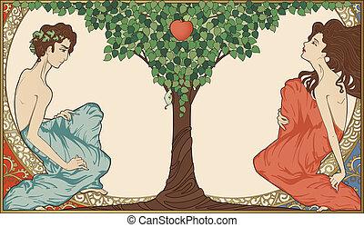 Adam und Eva, Art-Nouveau-Stil