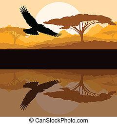 Adler fliegender Vektor Hintergrund mit Reflexion.