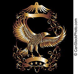 adler, vektor, kunst, schutzschirm, gold