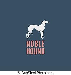 adlig, emblem, zeichen, abstrakt, windhund, hund, oder, dunkel, vektor, hintergrund, logo, silhouette, jagdhund, template.