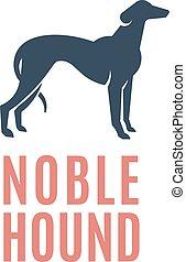 adlig, oder, emblem, zeichen, abstrakt, windhund, hund, silhouette., vektor, logo, jagdhund, template.