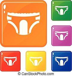 Adult Windeln Icons setzen Vektorfarbe.