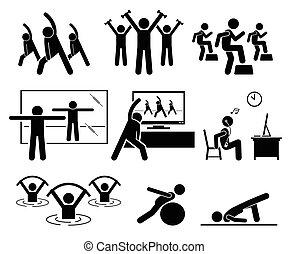 Aerobic-Kurs im Fitnessraum mit Lehrer.
