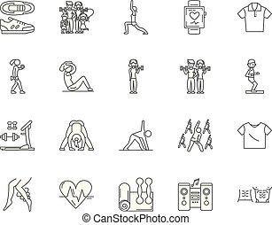 Aerobics Linien-Icons, Zeichen, Vektor-Set, Umriss Illustration Konzept.