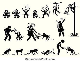affe, figur, piktogramm, stock, menschliche , cliparts.