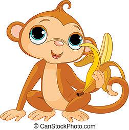 affe, lustiges, banane