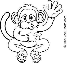 Affen-Cartoon-Tiere winken und zeigen.