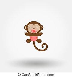Affen in einer Windel mit einem Pacifier. Icon.