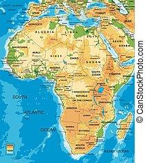 Afrika-physische Karte.