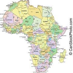 Afrika - Sehr detaillierte, editierbare politische Karte mit getrennten Ebenen.