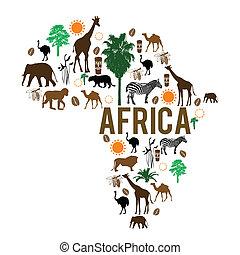 Afrika Wahrzeichen Karte Silhouette Ikonen.