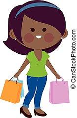 Afrikanerin mit Einkaufstüten. Vector Illustration