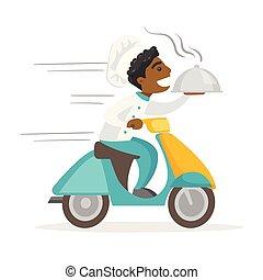 Afrikanisch-Amerikaner liefern Teller auf Roller.