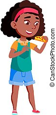 afrikanisch, pizzeria, vektor, essende, karikatur, pizza, café, m�dchen, stück, reizend, lebensmittel