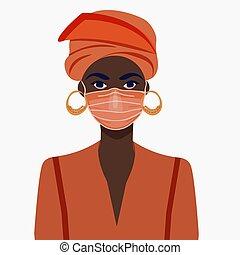 afrikanisch, vektor, begrifflich, gesicht, m�dchen, covid-19, mask., illustration., amerikanische