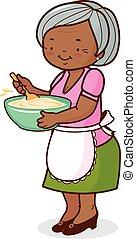 afrikanisch, vektor, grossmutter, cooking., abbildung, amerikanische