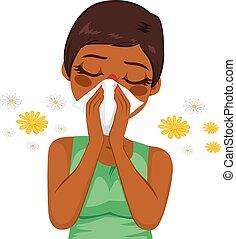 Afrikanische Amerikanerin leidet an Allergien.