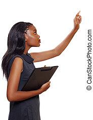 Afrikanische amerikanische Geschäftsfrau.