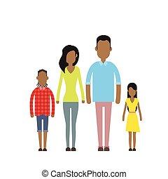 Afrikanische amerikanische glückliche Familie vier Menschen, Eltern mit zwei Kindern.