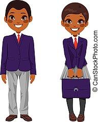 Afrikanische amerikanische Studentenuniform.