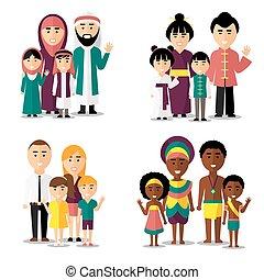 Afrikanische, asiatischen, arabische und europäische Familien. Symbole für Vektorzeichen gesetzt