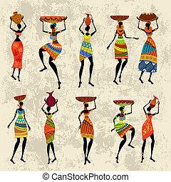 Afrikanische Frau im Grunge-Hintergrund