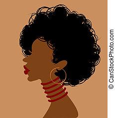 Afrikanische Frau im Profil