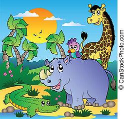 Afrikanische Landschaft mit Tieren 3