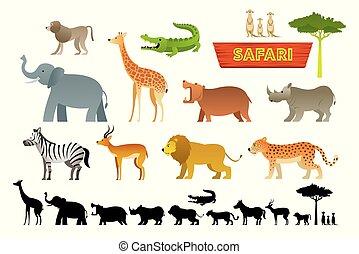 Afrikanische Safaritiere bereit.