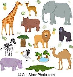 Afrikanischer Tiervektor wild animalische Charakter Elefanten Giraffe Gorilla Säugetier in der wildlebenden Afrika Illustrationen von Hippo Löwe Zebra Kamel in nationalen Safari Park isoliert auf weißem Hintergrund.
