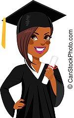 Afrikanisches amerikanisches Abschlussmädchen.