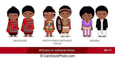 afrikas, ethnisch, uganda., national, stamm, swaziland, zulu, süden, satz, costume., traditionelle , dress., leute, afrikanisch, maenner, republik, tragen, frauen
