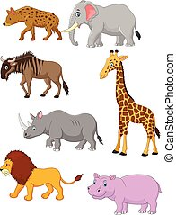 afrikas, karikatur, sammlung, tier