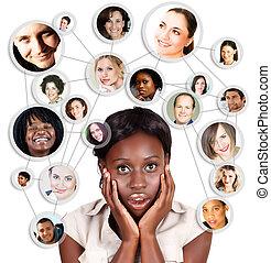 Afro-Amerikaner Geschäftsfrau und soziales Netzwerk