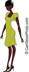 Afro-Frau, Vektor oder Farbveranschaulichung.