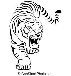 Aggressiver Tiger auf der Jagd.